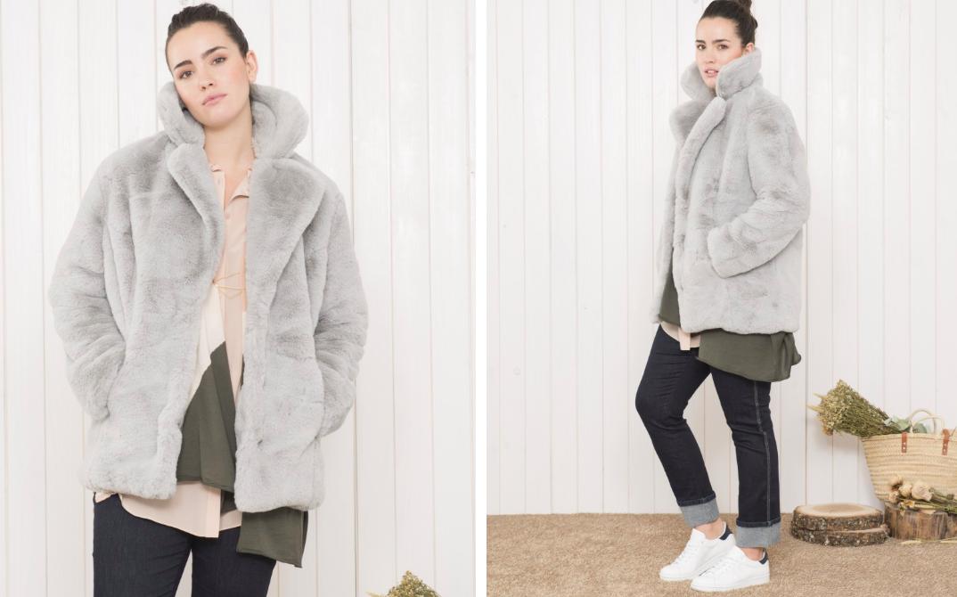 Abrigo pelo gris corto mejores abrigos